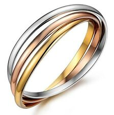 Women bracelet Silver/RoseGold/Gold Plated Stainless Steel 3-color 3-bangles set