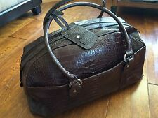 Bath and Body Works brown Faux Croc leather Suitcase Luggage Carry On Travel Bag