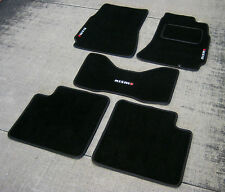 Black SUPER VELOUR Car Mats - Nissan Skyline R34 (98-02) + Nismo Logos (x3)
