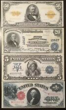 Replica US Currency Set #2 Grant Indian Chief Washington 1899-1922 $1 $5 $20 $50