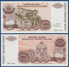 CROATIA / Krajina 50.000.000.000 Dinara 1993 UNC without serial  P. R29