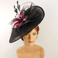 New Church Derby Wedding Pleated Fascinator Hat Headband 2450 Black / Pink