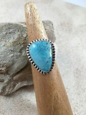 NAVAJO TURQUOISE-STERLING SILVER RING BY SCOTT SKEETS-SIZE 8.5-BEAUTIFUL!