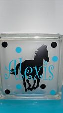 Horse with Name & Dots Decal for Your Glass Block Night light Kids Room