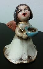 WHITE DRESS Vintage Original BOZNER Engel Thun Angel Candle Holder Blue Bowl 4""