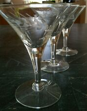 (6) Vintage Flared Champagne Glasses Tall Sherbets V-shaped Gray Cut Wheat EUC
