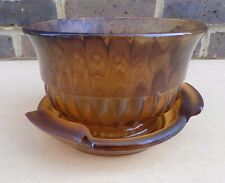 Art Deco Brown Cloud Glass Flower Bowl with Stand