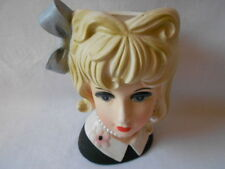 Vintage Inarco Lady Head Vase E5625  Blonde w/Pearl Necklace and Earring