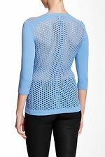 Autumn Cashmere Perforated Knit Sweater Sapphire XS NWT $198