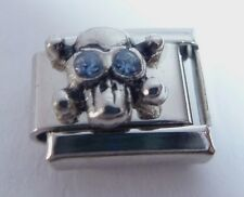 SKULL BLUE GEMS Eyes Italian Charm 9mm Halloween fits Classic Bracelet March