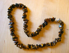 "GENUINE TIGERS EYE GEMSTONE 10 - 12mm CHUNKY NUGGET BEADED NECKLACE 18"" long"