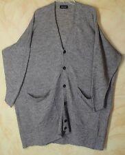 Eskandar Olive Heather Green Long Linen Knit Art-to-Wear BF Cardigan Sweater O/S