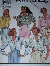 SIMPLICITY #9857 - LADIES SHORT or LONG SLEEVE COLLARED BLOUSE PATTERN  10-18 uc