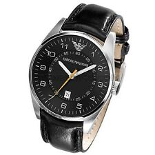 Emporio Armani Gent's Black Leather Strap & Stainless Steel Case Watch AR5861
