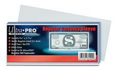 (100) Ultro Pro Regular Bill Currency Sleeves Standard Dollar Note Polypropylene