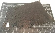 BLACK PERFORATED SQUARES Supple Lambskin Leather Hide Piece #19