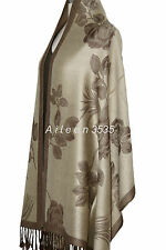 Reversible Pashmina & SilkShawl/Wrap~~Beige/Coffee