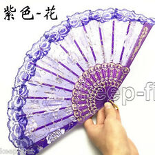 Chinese Japanese Purple Foldable Lace Trim Hand Fan Floral Print