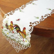 Deluxe ROOSTER Table Runner Doily 54 x 13 Embroidered Machine Wash NEW