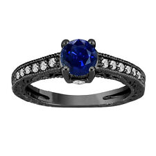 1.20 Ct Blue Sapphire Engagement Ring With Diamonds Wedding Ring 14K Black Gold