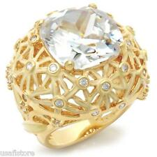 Ladies 25.3ct Clear CZ Stone Gold EP Large Cocktail Ring Size 9