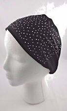 Headband black jersey rhinestones stretch elastic