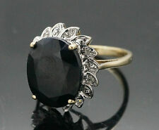9Carat Yellow Gold Sapphire(5.77ct) And Diamond Cluster Ring (Size J 1/2)