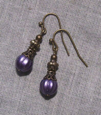 BRONZE FILIGREE PURPLE SATIN MELON BEAD DAINTY EARRINGS VICTORIAN BOHO VIOLET