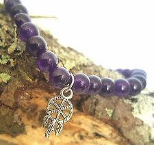 Silver Native Dream Catcher Amethyst Purple Gemstone Beaded Stretch Bracelet
