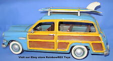 "1949 FORD WOODY WAGON with SURFBOARDS 12"" Metal Antique Replica Hand Painted"