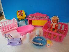 6 Inch 1972 Remco Baby Doll with Nursery Furniture and Accessories