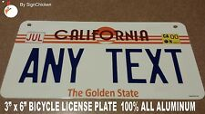 Personalized California Golden Custom Novelty State License Plate, BICYCLE, 3X6