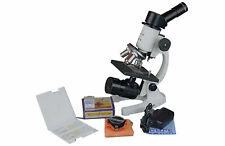 400x Compound Microscope w Cordless LED. 50 Blank & 2 Prep Slides! Carrying Box!