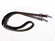 "LEATHER POLICE DOG TRAINING LEAD BLACK COLOR WITH BRASS FITTING 3/4"" WIDE BROWN"