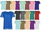 WOMENS PLUS SIZE LACE SEQUIN LINED LADIES BLOUSE FLORAL PATTERN TSHIRT TOP 14-28