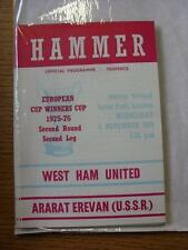 05/11/1975 West Ham United v Ararat Erevan [European Cup Winners Cup] (No appare