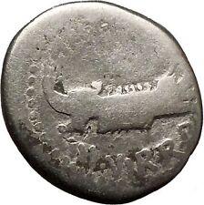 MARK ANTONY lover of CLEOPATRA Actium LEGION Silver Roman Coin Ship  i26964 Rare