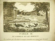 Fable Le corbeau & le serpent c1800 raven & the snake Nicolas F de Neufchâteau