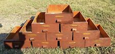 10 Vintage Handmade Small Wood Drawers Parts Bins Boxes Industrial
