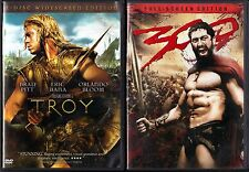 Troy (DVD, 2005, 2-Disc Set, Widescreen) & 300 (DVD, 2007, Full Frame)