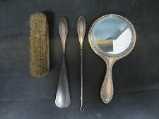 EDWARDIAN SOLID SILVER 4 PIECE DRESSING SET - BIRMINGHAM - 1908