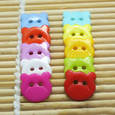 Fascinating 100pcs Bear Head Resin Buttons For Kid's Clothes Sewing Mixed Color