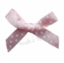 Mini 7mm Polka Dot Satin Ribbon Bows - Choose Your Colour and Pack Size Free P&P