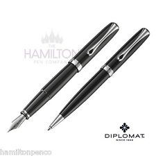 DIPLOMAT EXCELLENCE PEN GIFT SET - Black Lacquer fountain pen & ballpoint