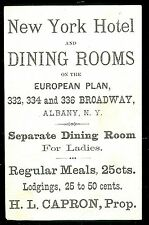 Adv. Trade Card & Menu - New York Hotel & Dining Room, Albany c1880s
