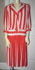 Vtg 80s 3/4 Sleeves Red & White Sailor Striped Pleated Dress Women's Size 14P