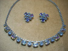 VINTAGE WEISS Rhinestone Blue AB Aurora Borealis Necklace Clip Earring Set NICE