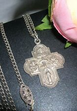 Antique Sterling Silver Crucifix Necklace ~ 2 Sided Miraculous Medal ~ 925 signd