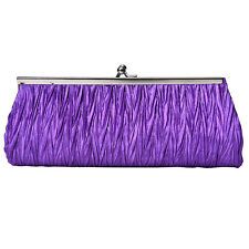 Women Lady Satin Pleated Wedding Bridal Evening Party Clutch Purse Bag Handbag N