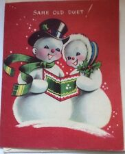 Vintage Christmas Card Mr. and Mrs. Snowman Unused+env